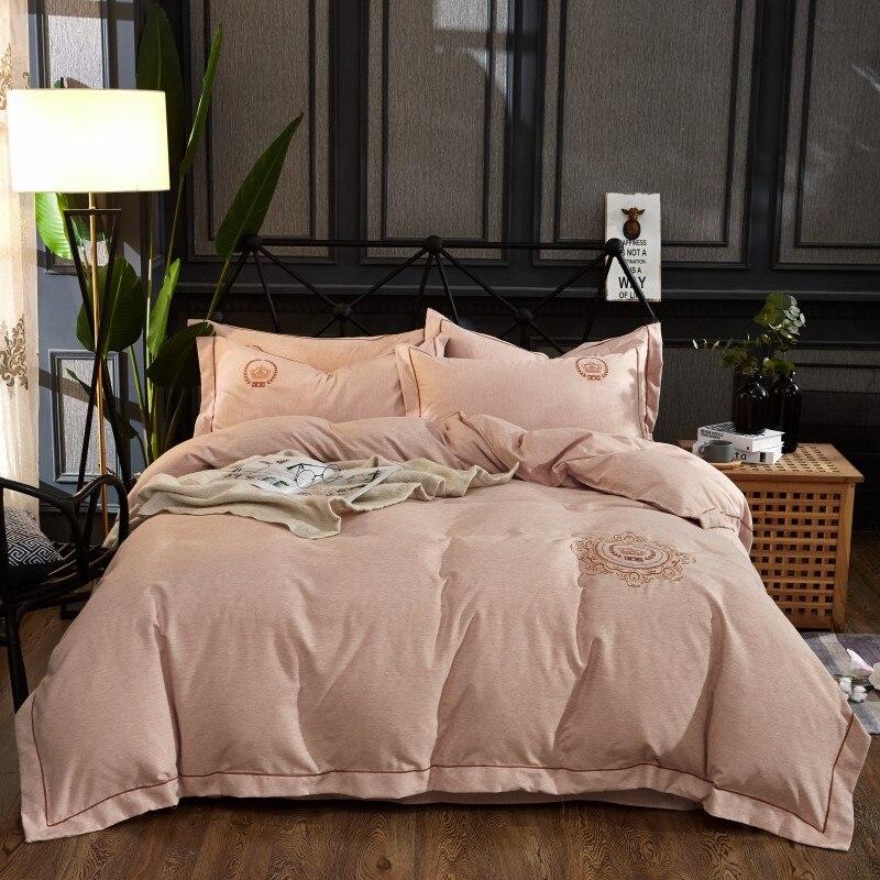 Embroideryluxury 4 pcs Fios tingidos de veludo de algodão conjuntos de cama queen size rei set capa de edredão saia da cama definir roupas de cama fronha