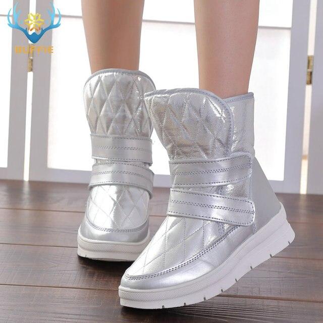 2019 sonbahar kış kadın çizmeler gümüş boot toka tarzı yeni moda ihracat artı boyutu 36 41 büyük mil için büyük ayakkabı güçlü dış tabanlar