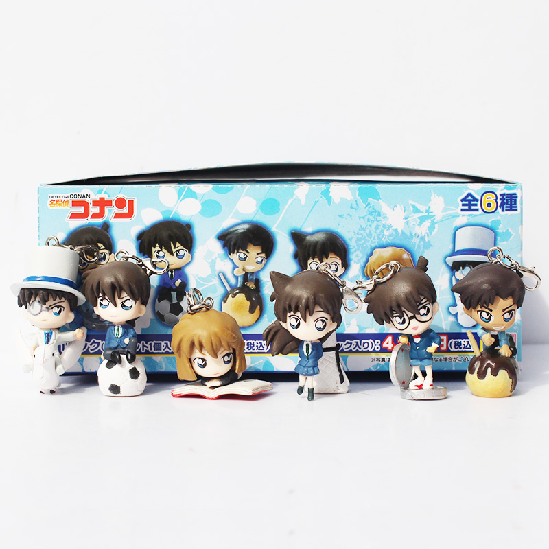 6pcs/Lot Detective Conan keychain figures Action Figure Collection Model Toy 6cm Approx Free Shipping 2pcs lot 15 cm detective conan japanese anime action figures scale models toy free shipping gs032