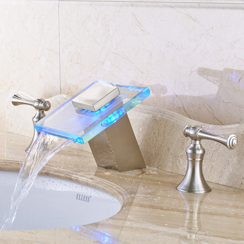 Nickel Brushed LED Waterfall Bathroom Sink Faucet Double Handles Mixer Tap Widespread 3pcs Basin Mixer Tap стоимость