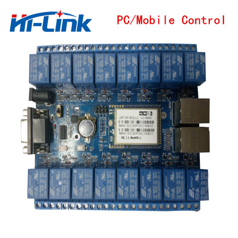 Free shippping HLK-SW16 16 Channel Remote Control Relay smart home things of internet RS232 RJ45 port P2P WIFI relay board Karachi