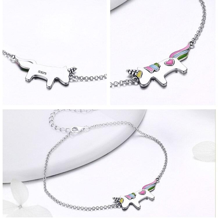 100% 925 Sterling Silver Unicorn Bracelet