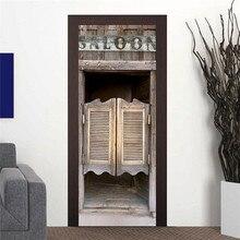 Estilo vaquero occidental, puerta de Bar vieja, Saloon, pegatinas de puerta de madera, Adhesivo de pared europeo para dormitorio, decoración para sala de estar, póster