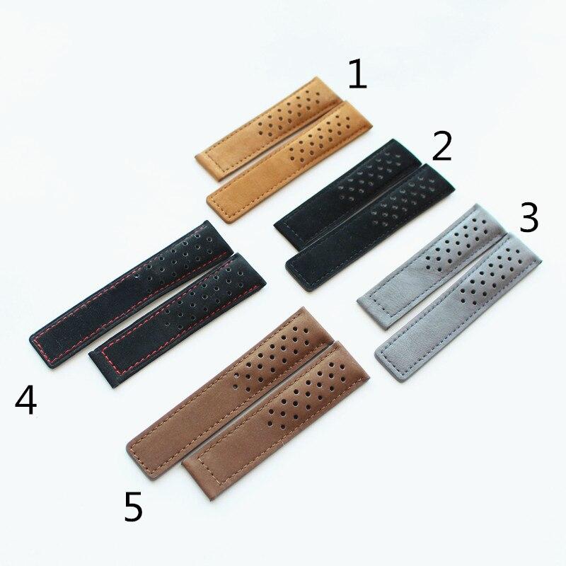 TJP 22mm 24mm Compagnon Véritable Bracelet En Cuir Noir Brun Gris Bracelet Remplacer TAG Heuer Carrera Bracelet Sans boucle