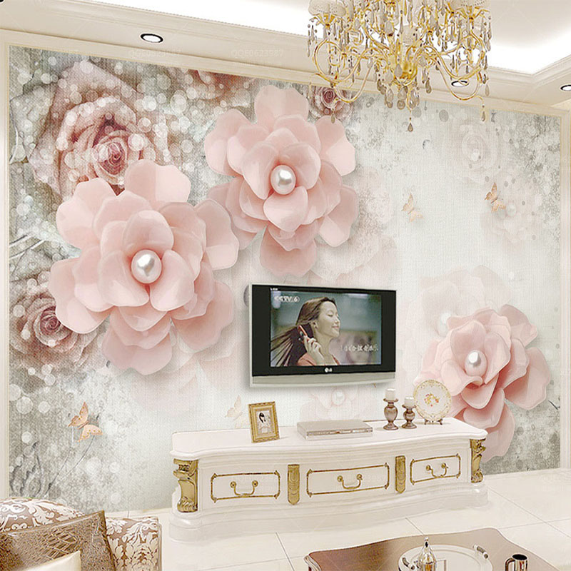 Large 3d European Pearl And Rose Jewelry Tv Background: Custom Photo Wallpaper 3D Stereo Pearl Flower Wall