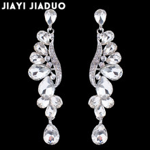 jiayijiaudo European Leaves Long Drop Earrings for Women Silver Color Crystal Hanging Earrings Wedding Engagement Jewelry(China)