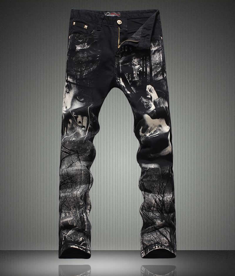 Fashion Sexy Belle Print Men Jeans Fashion Black Pained Trousers