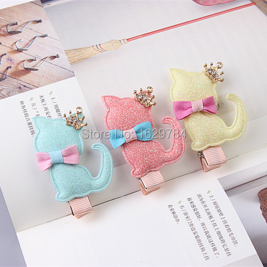 Boutique 20pcs Fashion Cute Glitter Tiaras Cat Hairpins Solid Kawaii Bowknot Cat Hair Clips Princess Headware Hair Accessories new arrival baby cute 30pcs lot wholesale hair clips glitter animals butterfly felt hairpins high quality baby princess clips