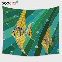 Cutom Tapestry Wall Hanging Mosaic Fish With Long Fins Fractal Underwater Marine Art Display Forest Green