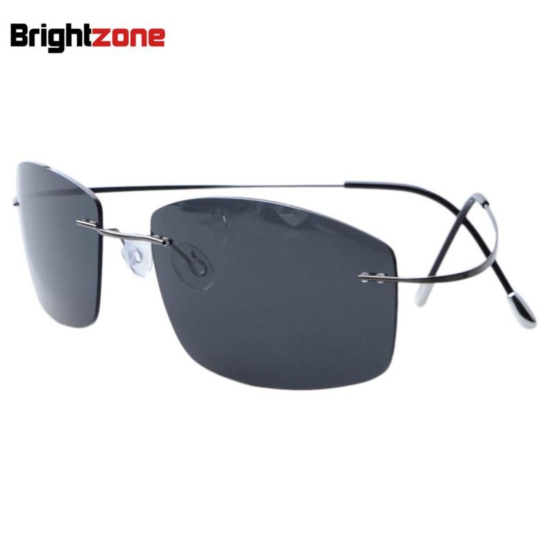 Ultra light Non screw Non hinge Rimless Titanium Frame Gray Green Brown Polarized Sunglasses Driving Fishing