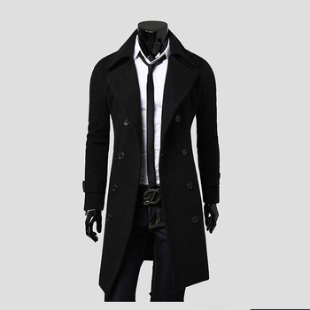 Free shipping New Men's Long Woolen Jacket Fashion Solid Double Breasted  Men Trench Coat  Color Black,Camel,Gray