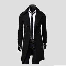 Бесплатная доставка Новый Для мужчин длинные шерстяные куртка Модные однотонные двубортный Для мужчин Тренч Цвет черный, верблюд, серый