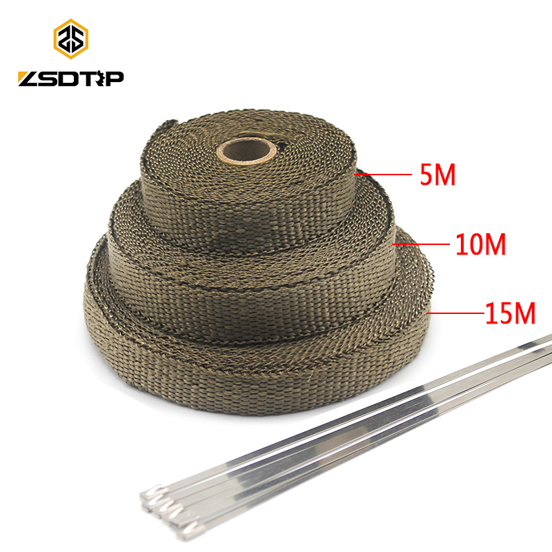 ZSDTRP 5/10/15M Car Moto Heat Shield Wrap Turbo Exhaust Heat Tape Wrap Pipe Wrap Shields Manifold Header Insulation Cloth Roll|Exhaust & Exhaust Systems| |  - title=