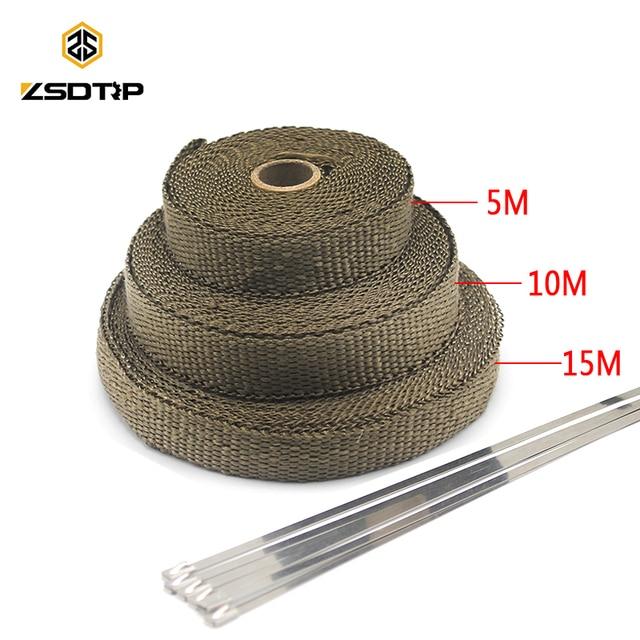 ZSDTRP 5/10/15M Car Moto Heat Shield Wrap Turbo Exhaust Heat Tape Wrap Pipe Wrap Shields Manifold Header Insulation Cloth Roll