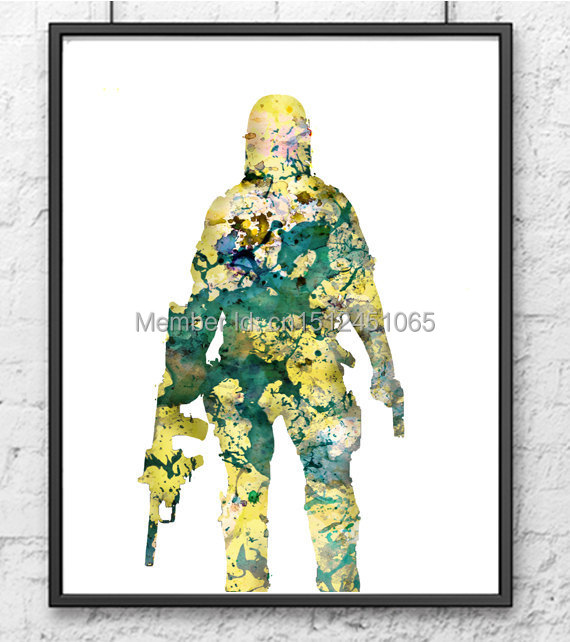 Modern Living Room Bedroom Home Wall Art Decor Abstract Soldier Military Teen Poster Picture