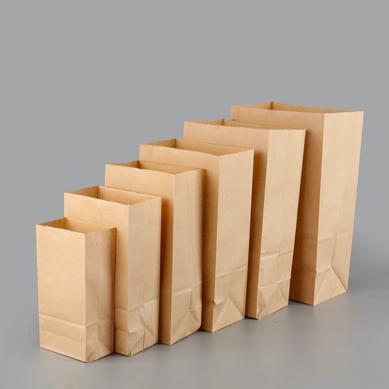 100pcs/lot Brown White Kraft Paper Cake Paper Bags Box Food Packaging Jewelry Bread Candy Party Bags For Boutique Cookie