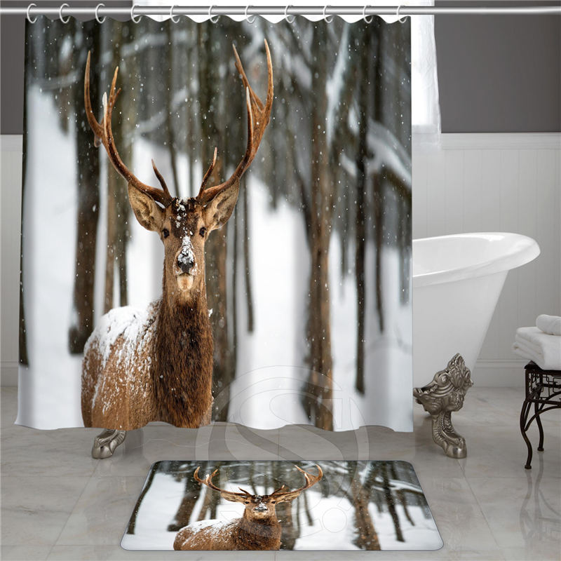 Custom Shower Curtain Home Decor Animal Series Cheetah Deer Elephant Giraffe Moose Turtle Polyester Curtains Non Slip Doormat