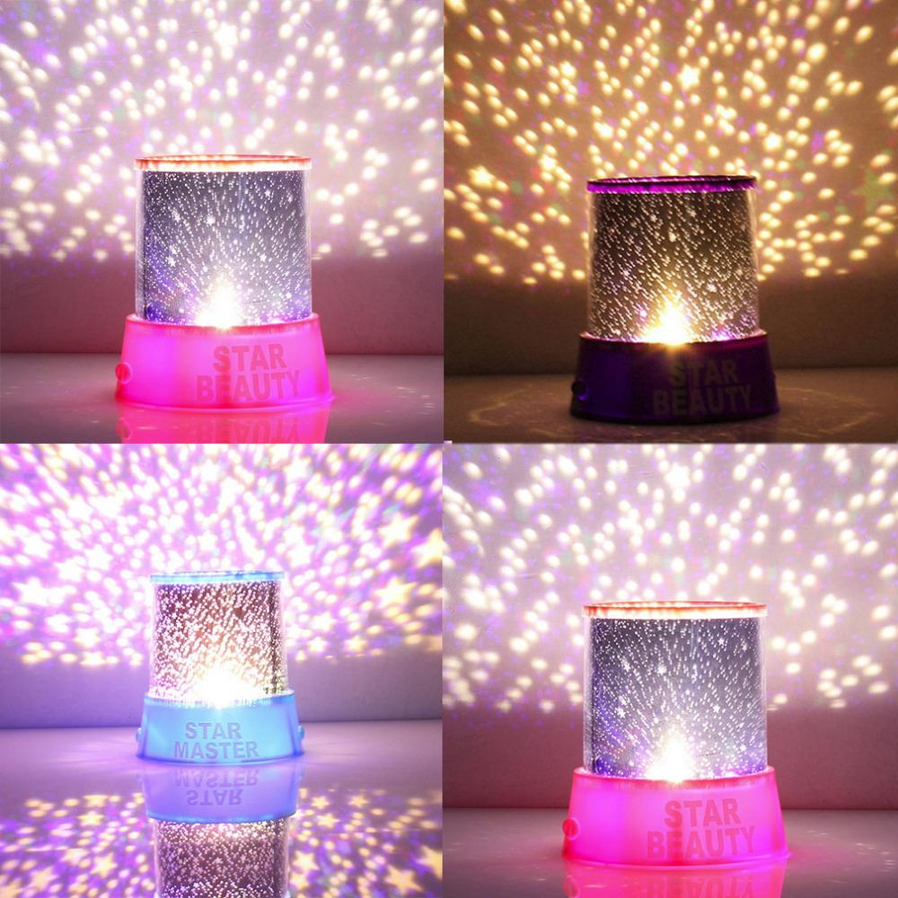 Hot Romantic Amazing Cosmos Moon Colorful Master Star Sky Universal Night Light Kid Chidren Projector lamp Festival Gift Present