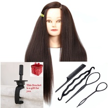 CAMMITEVER Dark Brown Hair Mannequin Heads Utbildning Verktyg Paryck Styling Mannequin Head Hairstyling With Holder Gratis frakt