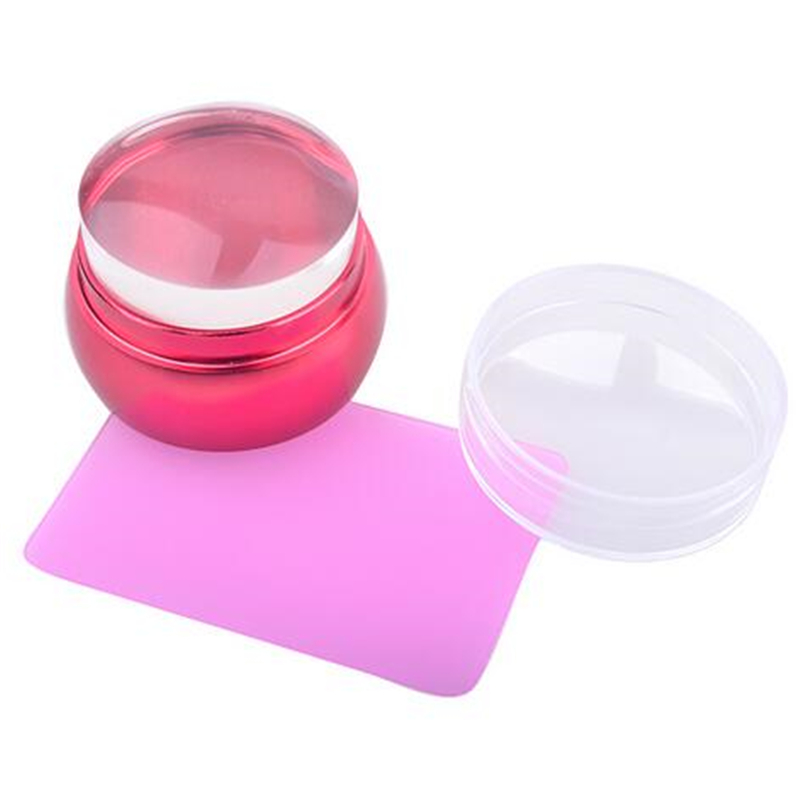 Desain baru 3.5 cm jelas jelly transparan nail stamper, catur logam - Nail art