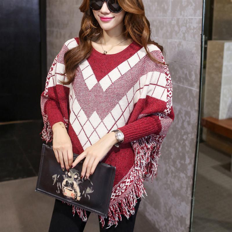 Women Bat Sleeve Knit Full Sleeve Tassel Hem Pullover Stitching irregular Cloak Poncho Cape Top Fringed Sweater Coat Shawl 2017