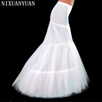 Wholesale Free Shipping Hot Sale Cheap High Quality Mermaid Petticoat 2 Hoops White Wedding Crinoline 2017 New Arrival