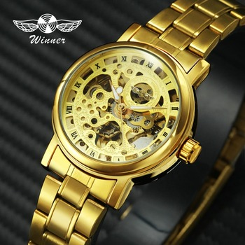 Роскошные элегантные женские часы WINNER, автоматические механические часы из нержавеющей стали золотого цвета