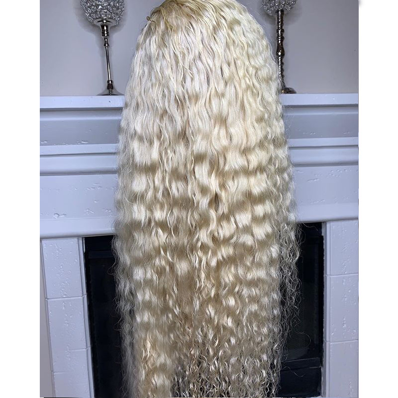 13x4 Curly 613 Blonde Lace Front Wig Black Women Preplucked Brazilian Transparent Water Wave Remy Lace Front Human Hair Wigs-in Human Hair Lace Wigs from Hair Extensions & Wigs    3