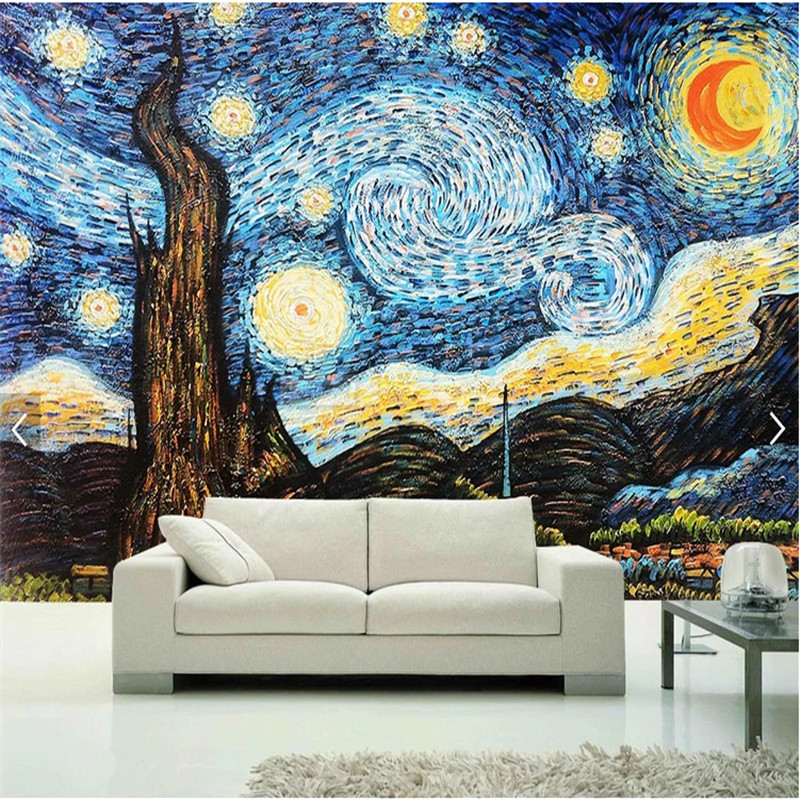Custom 3D photo wallpaper Van Gogh starry sky oil painting mural wallpaper for living room wall mural home decor papel de paredeCustom 3D photo wallpaper Van Gogh starry sky oil painting mural wallpaper for living room wall mural home decor papel de parede