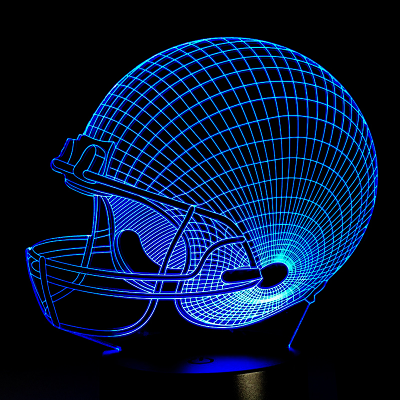 American Football Helmet Sports Caps Star 3D Lamp Team Logo Custom Made Multicolors Lava LED Lighting Night Luminaria Christmas