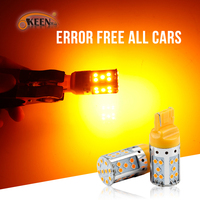 OKEEN Universal Error Free T20 LED Bulbs 12V DC Canbus Amber 3030 35SMD Auto Brake Turn Light Bulbs No Hyper Flash For All Cars