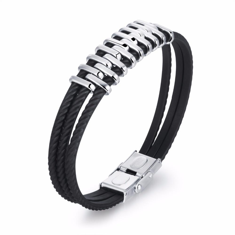 2018 Sale New Bracelets & Bangles Popular Retro Style Multilayer Steel Men's Bracelet Personality Stainless Geometric Modeling