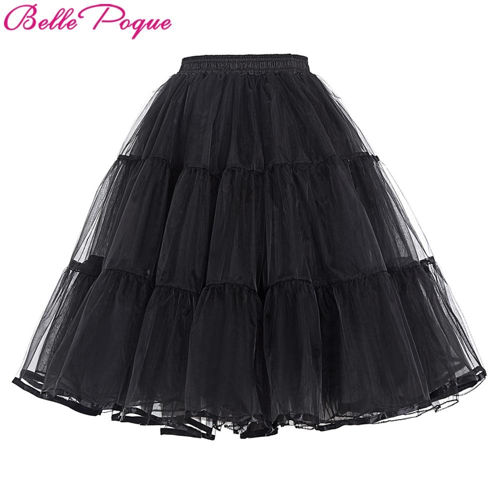 e0d41d2c332594 Belle Poque Skirt Women Retro Solid Tulle Black/White/Red Crinoline Girls'  Underskirt