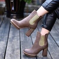 Artmu/Модная обувь на высоком каблуке женские ботинки «Челси» ручной работы кожаные полусапожки ботильоны 6,5 см высокие каблуки платформы шор