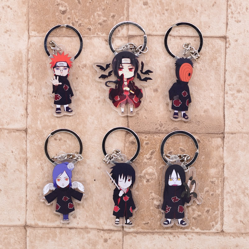 2019 Naruto Keychain Sasuke/itachi/Kakashi Double Sided Acrylic Key Chain Pendant Anime Accessories Cartoon Key Ring(China)