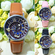 2015 Fashion Women's Men's Galaxy Love Heart Faux Leather Strap Quartz Analog Wrist Watch 8HSR