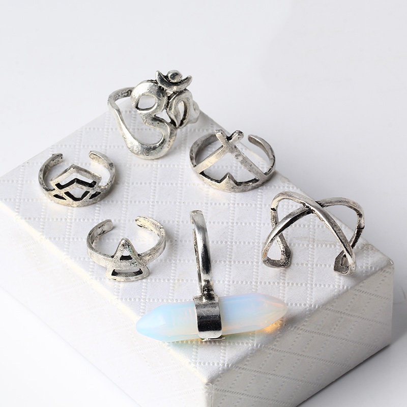 Vintage Imitation Crystal Ring Set Ethnic Carved Antique Silver Boho Midi Finger Ring Knuckle Charm Earings Fashion Jewelry R995