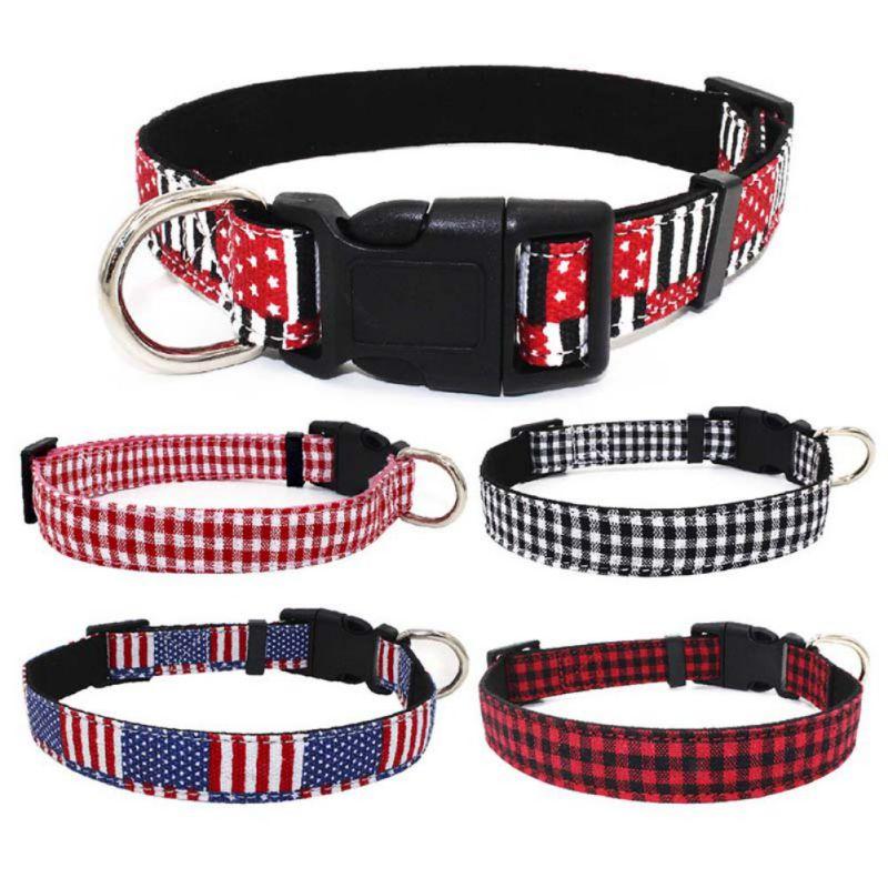 Dog Adjustable Microfiber Collars Comfortable Multi-Color Plaid America Flag Pattern Collar For Small Medium Large Dog Cat
