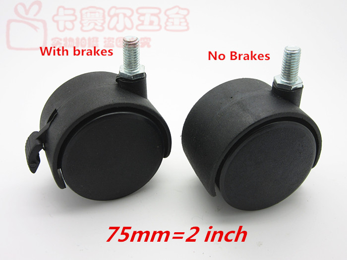 75mm Furniture M8 M10 Threaded Swivel Plate Caster Nylon Wheel Chair Table  Replacement Parts Caster Replacement Office Chair In Casters From Home ...