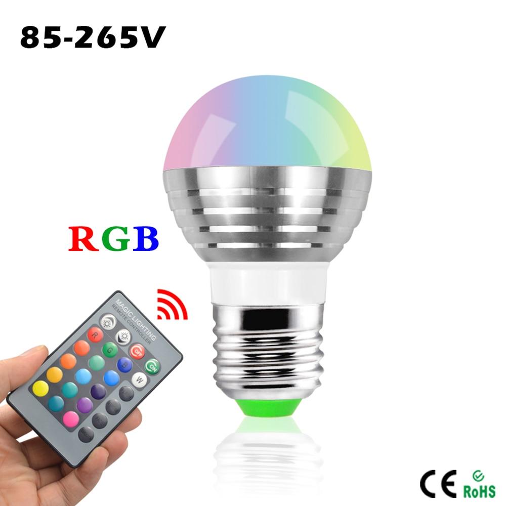 RGB Bunte Led lampen E27 3 Watt Led Spot licht auto rotating magie ...