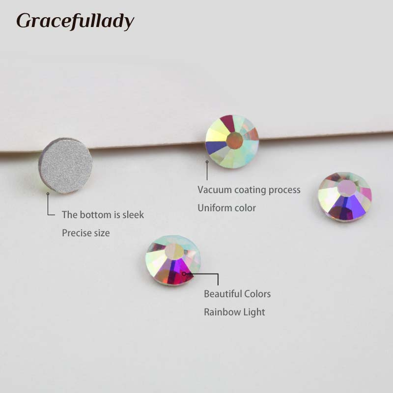 Super Glitter Crystal AB Rhinestones Flat Back Glass Chameleon Nail - Nagel konst - Foto 3