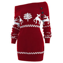813cae4a54 Wipalo Off The Shoulder Elk Print Knit Tunic Reindeer Sweater Women Sexy  Slash Christmas Pullover Sweater