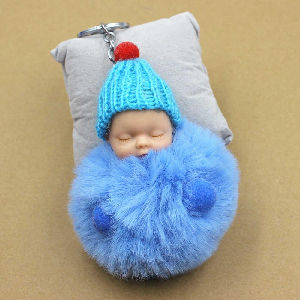 Venda quente Bonito do Sono Do Bebê Boneca Chaveiro Real Rex Rabbit Fur Pom Pom Fofo Saco Chaveiro Carro Chaveiro Bugiganga dom mulheres