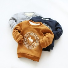 Hot Selling Kids cashmere clothes 2015 Autumn – Winter Girls and boys  velvet pullover sweatshirt cartoon Elk for 2-7Y Baby Girl