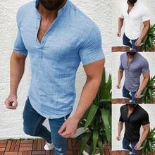 Мужская повседневная хлопковая льняная рубашка, свободные топы, футболка с коротким рукавом, S-2XL, весна, осень, лето, Повседневная Красивая мужская рубашка