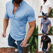 Men's Casual Blouse Cotton Linen shirt Loose Tops Short Sleeve Tee Shir