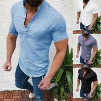 Men's Casual Blouse Cotton Linen shirt Loose Tops Short Sleeve Tee Shirt S-2XL Spring Autumn Summer Casual Handsome Men Shirt