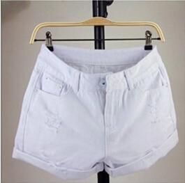 Новое поступление, летние популярные повседневные винтажные джинсовые шорты для женщин, белые, розовые, черные, большие размеры, хлопковые шорты свободного кроя, джинсы S3215 - Цвет: Белый