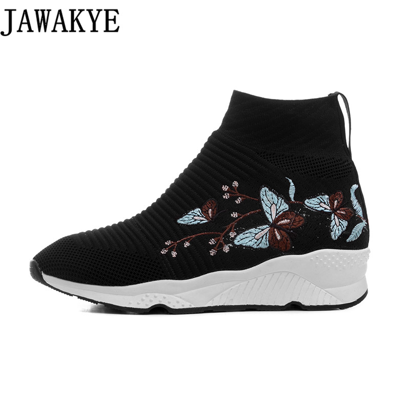 Casual Knitted Elastic Ankle Boots for women stripe embroidery flower platform Flat heels sneakers Socks Shoes Female Booties