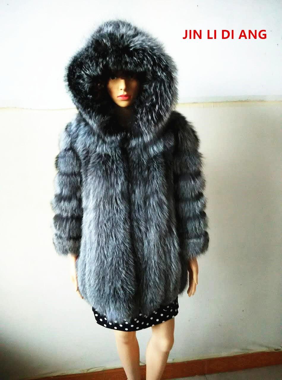 Jin Li di Ang 2018 Venta caliente nueve cuartos rayas verticales mujeres natural real Fox Pieles de animales con capucha chaqueta pelt